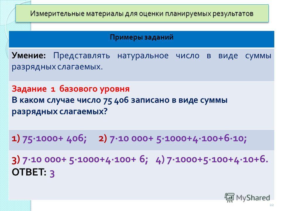 Измерительные материалы для оценки планируемых результатов Примеры заданий Умение : Представлять натуральное число в виде суммы разрядных слагаемых. Задание 1 базового уровня В каком случае число 75 406 записано в виде суммы разрядных слагаемых ? 1)