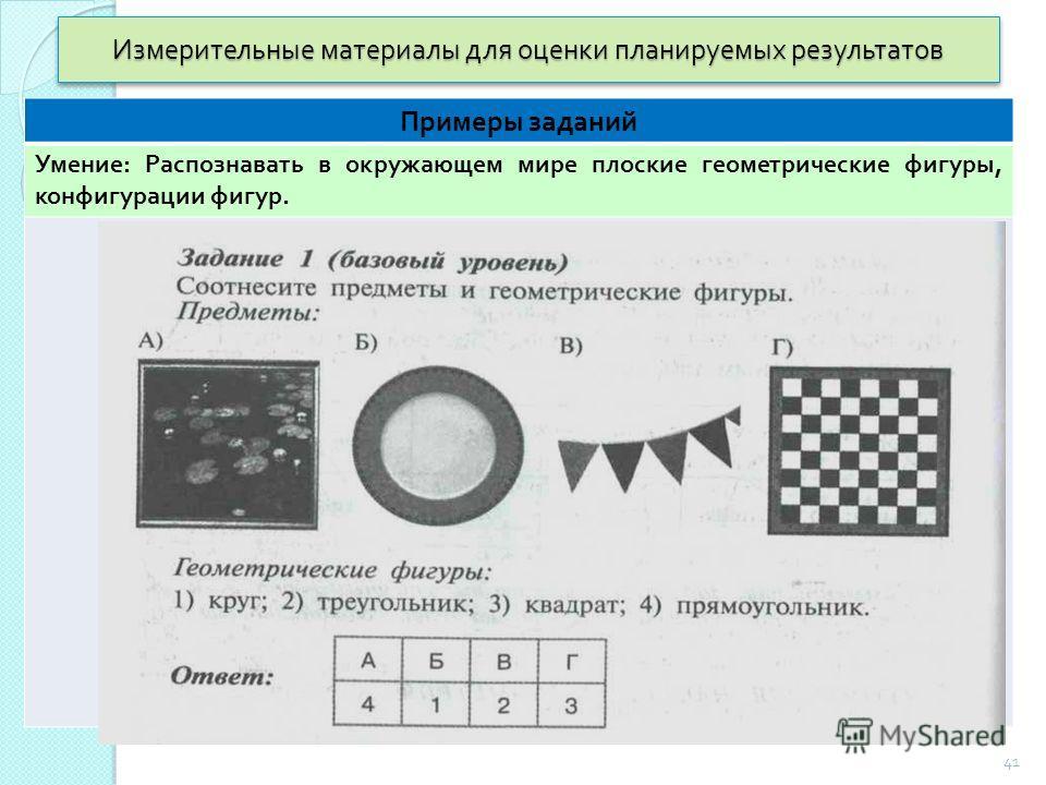 Измерительные материалы для оценки планируемых результатов Примеры заданий Умение : Распознавать в окружающем мире плоские геометрические фигуры, конфигурации фигур. 41