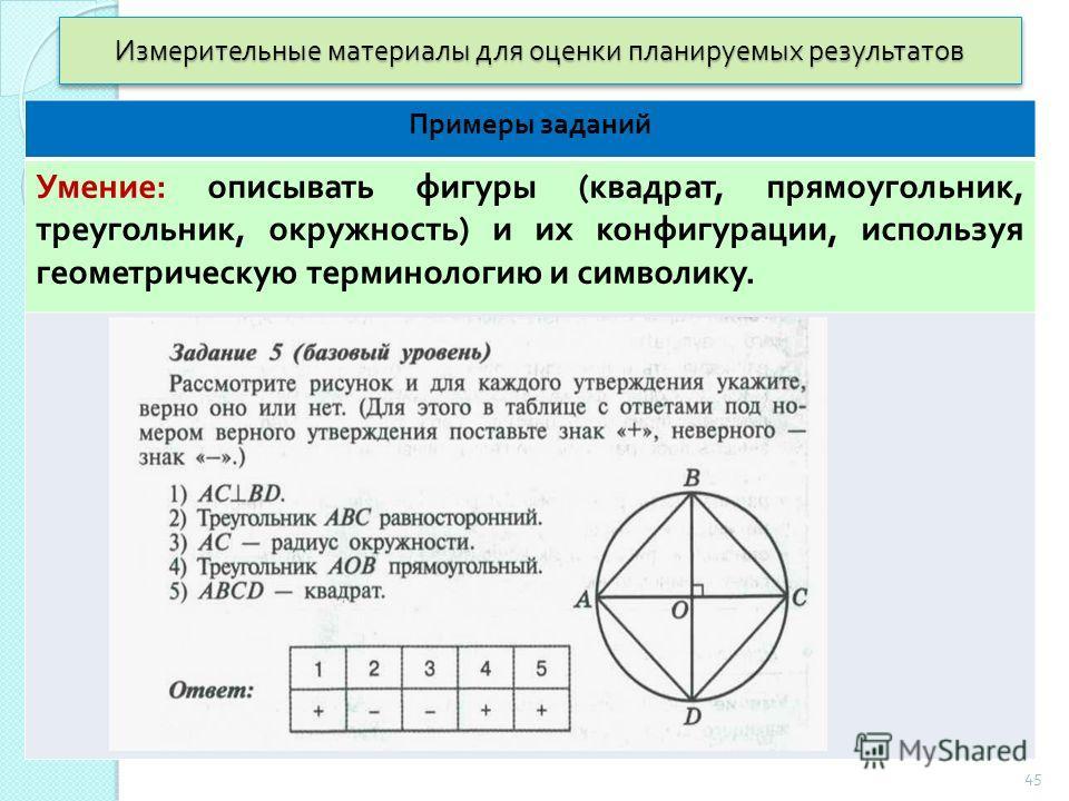 Измерительные материалы для оценки планируемых результатов Примеры заданий Умение : описывать фигуры ( квадрат, прямоугольник, треугольник, окружность ) и их конфигурации, используя геометрическую терминологию и символику. 45