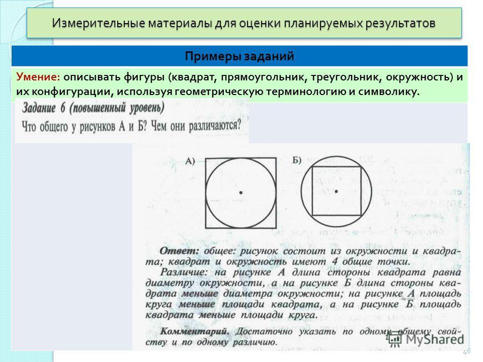Измерительные материалы для оценки планируемых результатов Примеры заданий Умение : описывать фигуры ( квадрат, прямоугольник, треугольник, окружность ) и их конфигурации, используя геометрическую терминологию и символику. 46