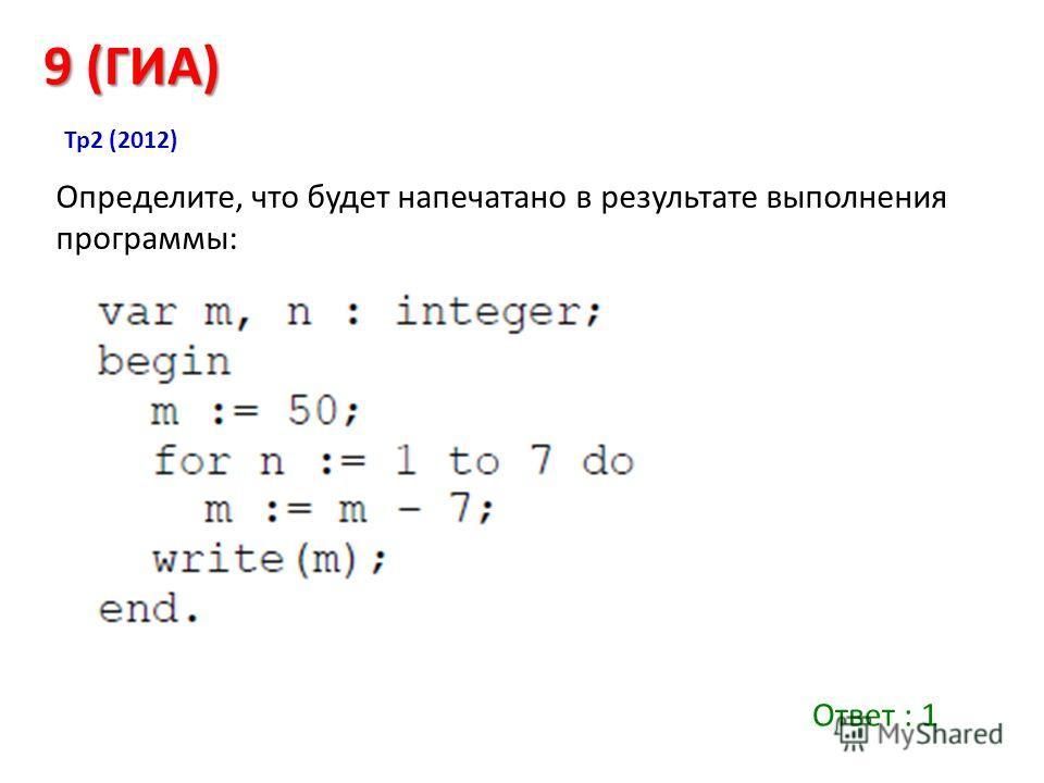 Определите, что будет напечатано в результате выполнения программы: 9 (ГИА) Тр 2 (2012) Ответ : 1
