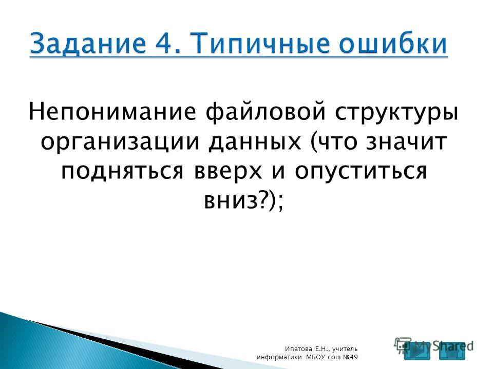 Непонимание файловой структуры организации данных (что значит подняться вверх и опуститься вниз?); Ипатова Е.Н., учитель информатики МБОУ сош 49