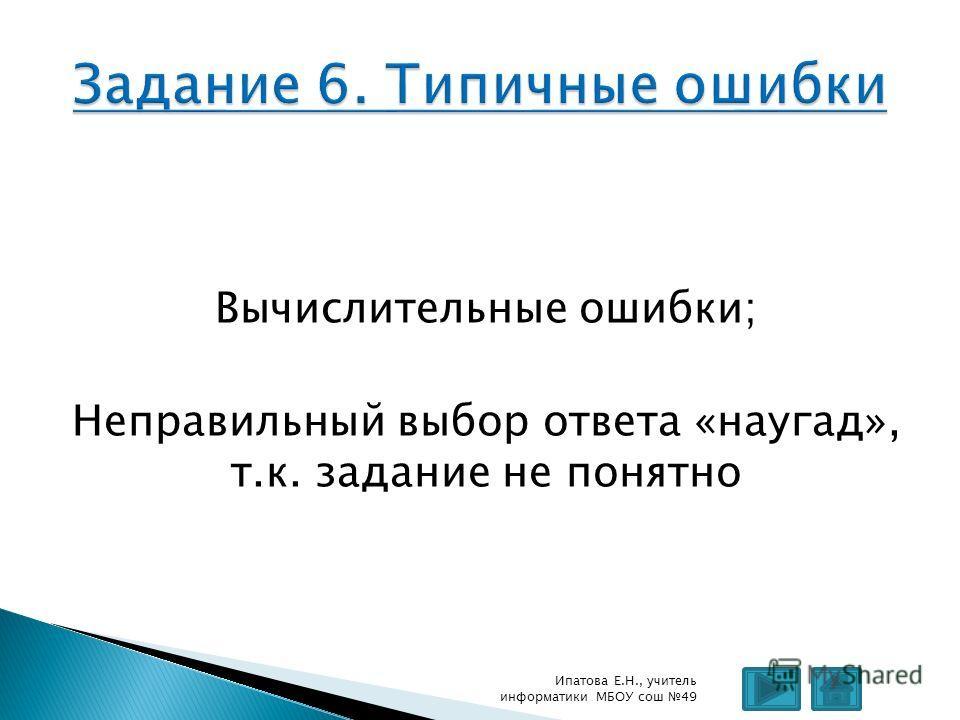 Вычислительные ошибки; Неправильный выбор ответа «наугад», т.к. задание не понятно Ипатова Е.Н., учитель информатики МБОУ сош 49