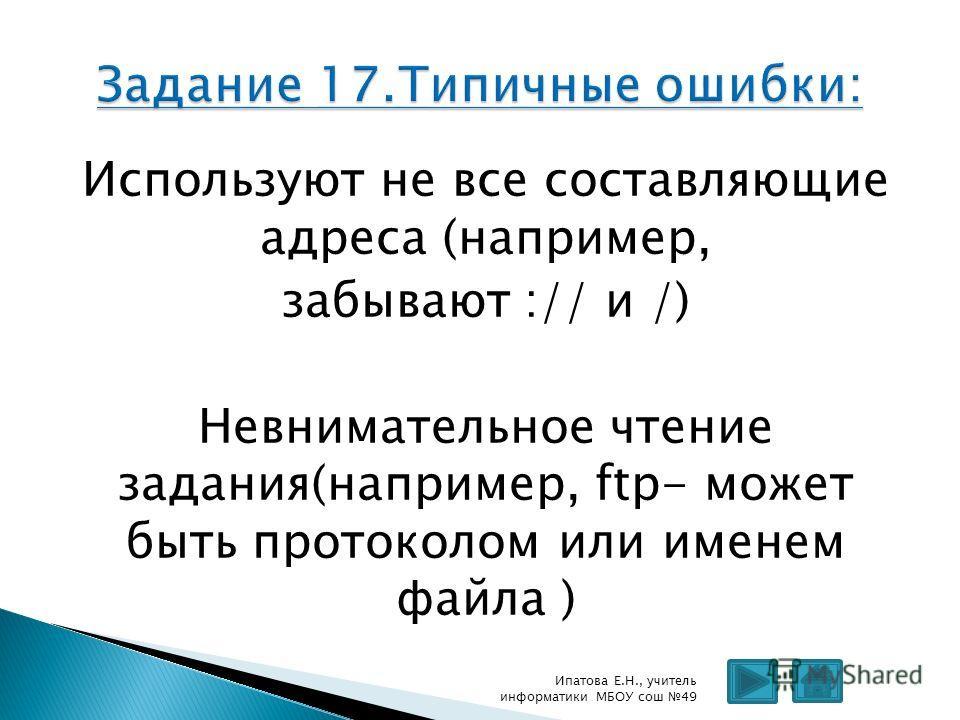 Используют не все составляющие адреса (например, забывают :// и /) Невнимательное чтение задания(например, ftp- может быть протоколом или именем файла ) Ипатова Е.Н., учитель информатики МБОУ сош 49