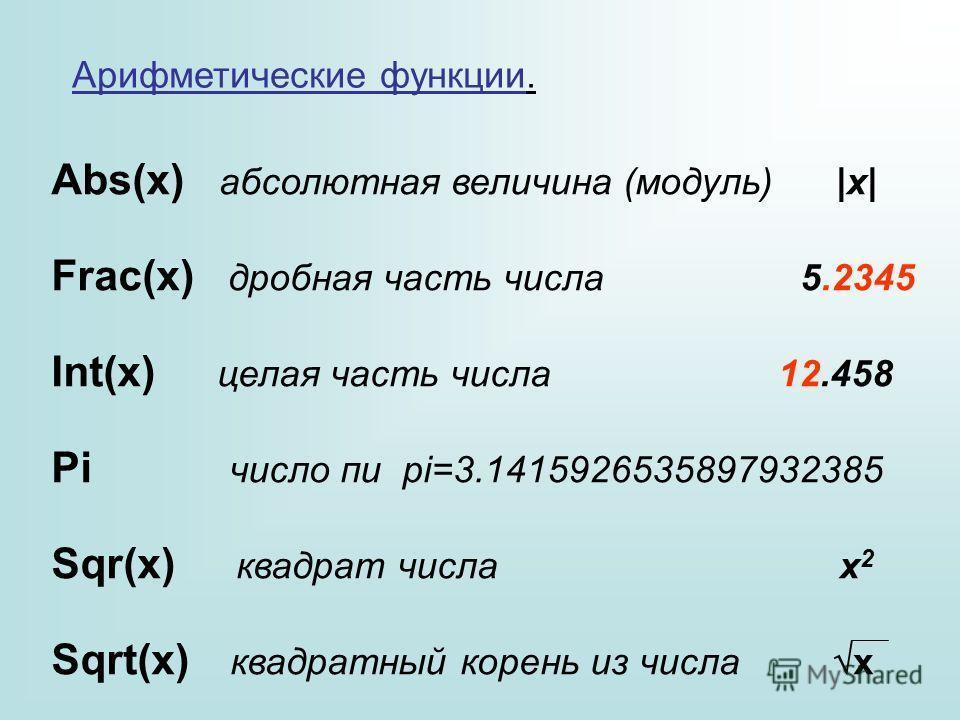 Арифметические функции. Abs(x) абсолютная величина (модуль) |x| Frac(x) дробная часть числа 5.2345 Int(x) целая часть числа 12.458 Pi число пи pi=3.1415926535897932385 Sqr(x) квадрат числа x 2 Sqrt(x) квадратный корень из числа x