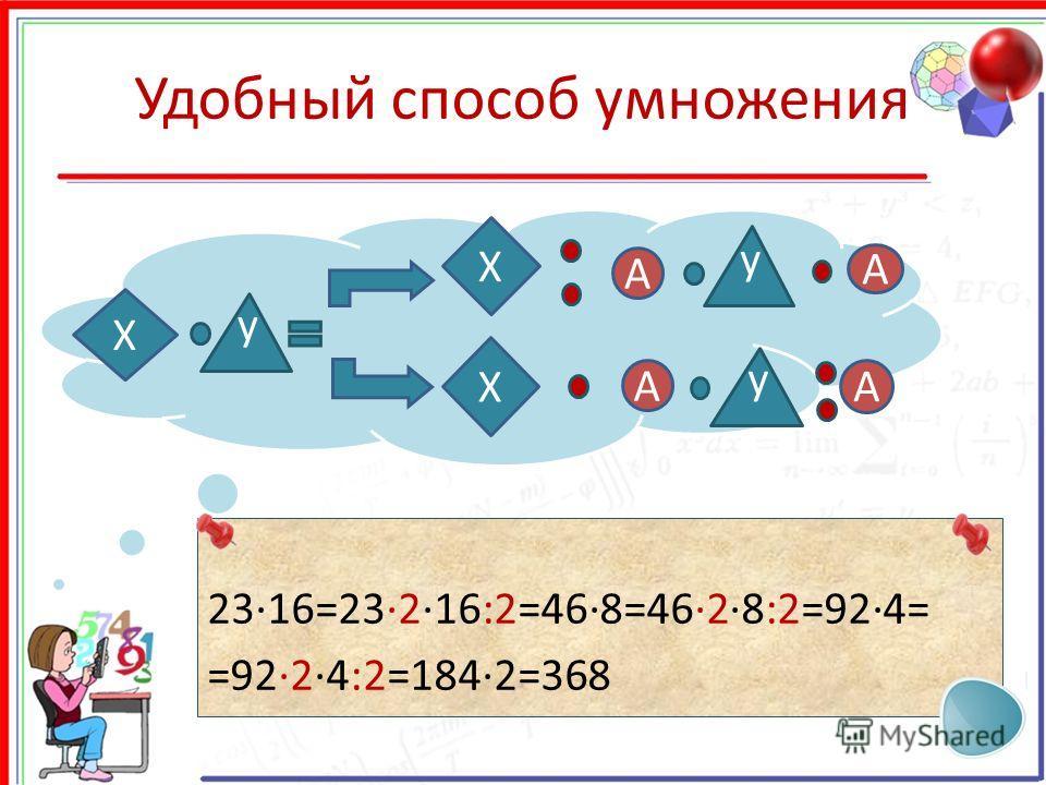 Удобный способ умножения 2316=23216:2=468=4628:2=924= =9224:2=1842=368 y X X X y A A y A A