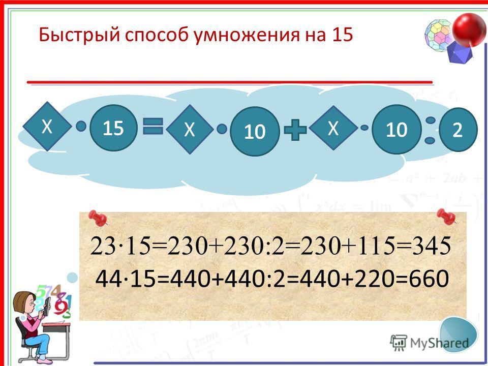 X Быстрый способ умножения на 15 23·15=230+230:2=230+115=345 4415=440+440:2=440+220=660 X X