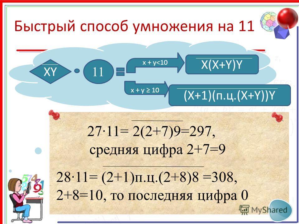 Быстрый способ умножения на 11 XY 11 X(X+Y)Y x + y