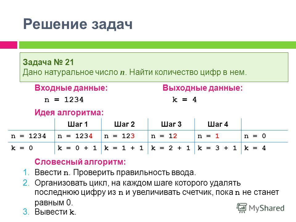 Решение задач Входные данные:Выходные данные: n = 1234 k = 4 Идея алгоритма: Словесный алгоритм: 1. Ввести n. Проверить правильность ввода. 2. Организовать цикл, на каждом шаге которого удалять последнюю цифру из n и увеличивать счетчик, пока n не ст