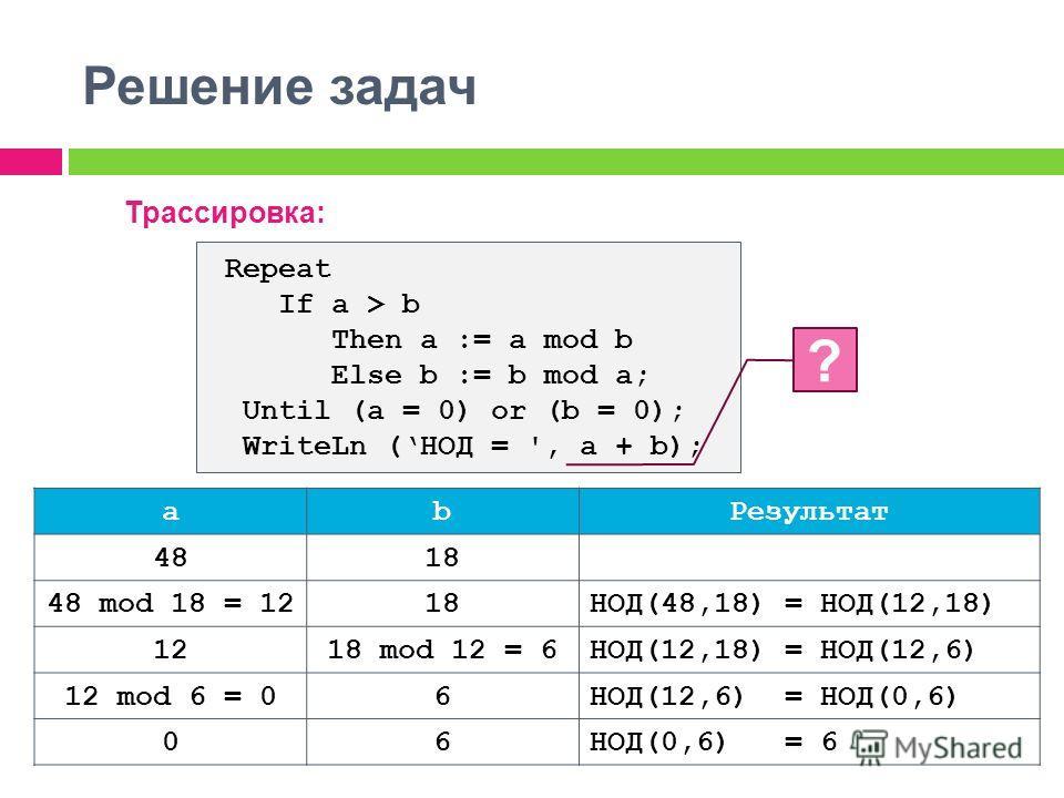 Решение задач Трассировка: ab Результат 4818 48 mod 18 = 1218НОД(48,18) = НОД(12,18) 1218 mod 12 = 6НОД(12,18) = НОД(12,6) 12 mod 6 = 06НОД(12,6) = НОД(0,6) 06НОД(0,6) = 6 Repeat If a > b Then a := a mod b Else b := b mod a; Until (a = 0) or (b = 0);