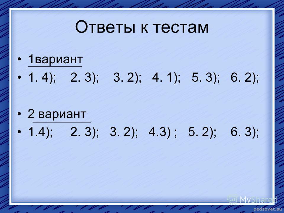 Ответы к тестам 1 вариант 1. 4); 2. 3); 3. 2); 4. 1); 5. 3); 6. 2); 2 вариант 1.4); 2. 3); 3. 2); 4.3) ; 5. 2); 6. 3);