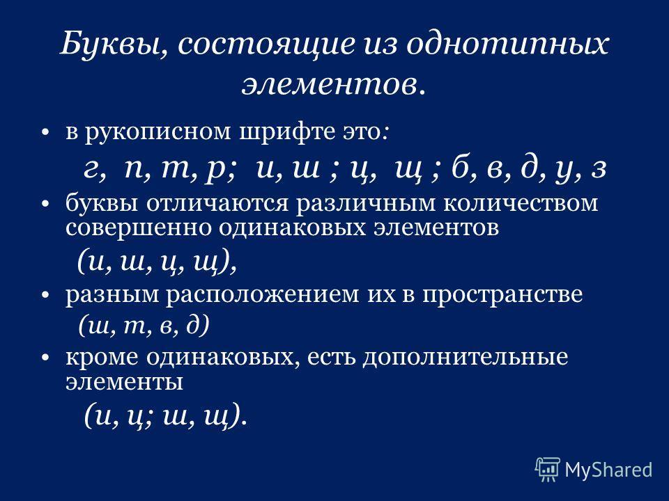 Буквы, состоящие из однотипных элементов. в рукописном шрифте это: г, п, т, р; и, ш ; ц, щ ; б, в, д, у, з буквы отличаются различным количеством совершенно одинаковых элементов (и, ш, ц, щ), разным располеожением их в пространстве (ш, т, в, д) кроме
