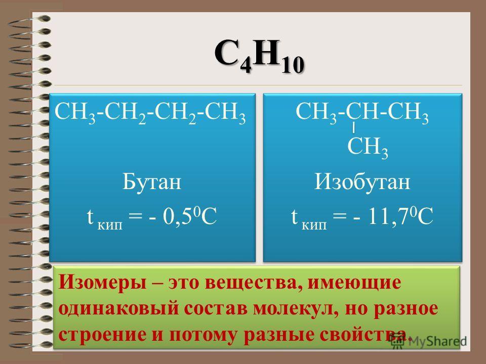 С 4 Н 10 СН 3 -СН 2 -СН 2 -СН 3 Бутан t кип = - 0,5 0 С СН 3 -СН 2 -СН 2 -СН 3 Бутан t кип = - 0,5 0 С СН 3 -СН-СН 3 СН 3 Изобутан t кип = - 11,7 0 С СН 3 -СН-СН 3 СН 3 Изобутан t кип = - 11,7 0 С Изомеры – это вещества, имеющие одинаковый состав мол