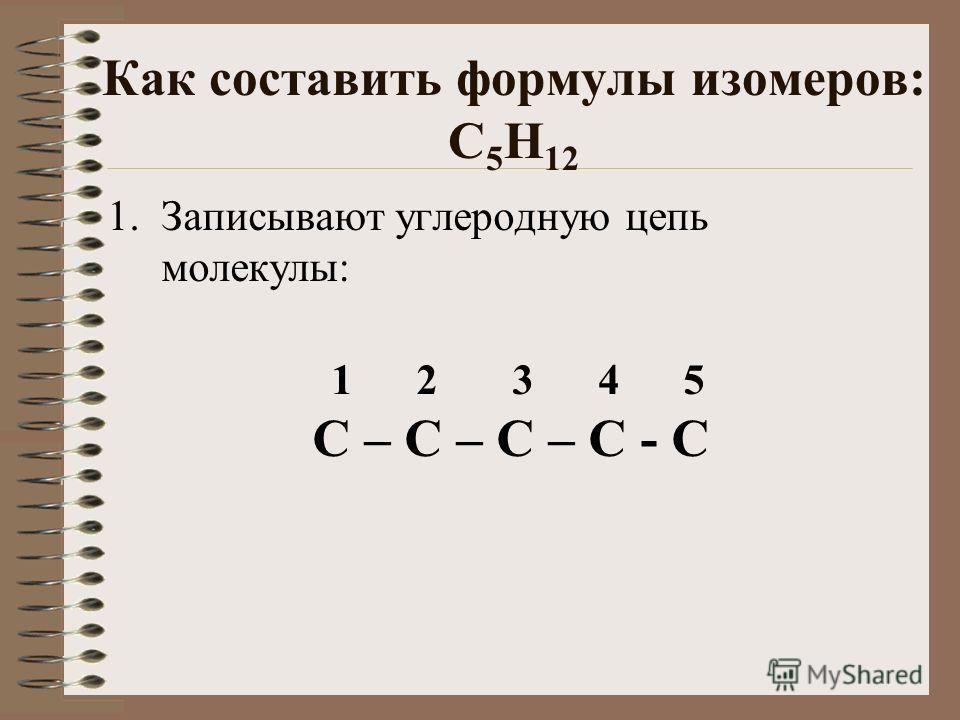 Как составить формулы изомеров: С 5 Н 12 1. Записывают углеродную цепь молекулы: 1 2 3 4 5 С – С – С – С - С