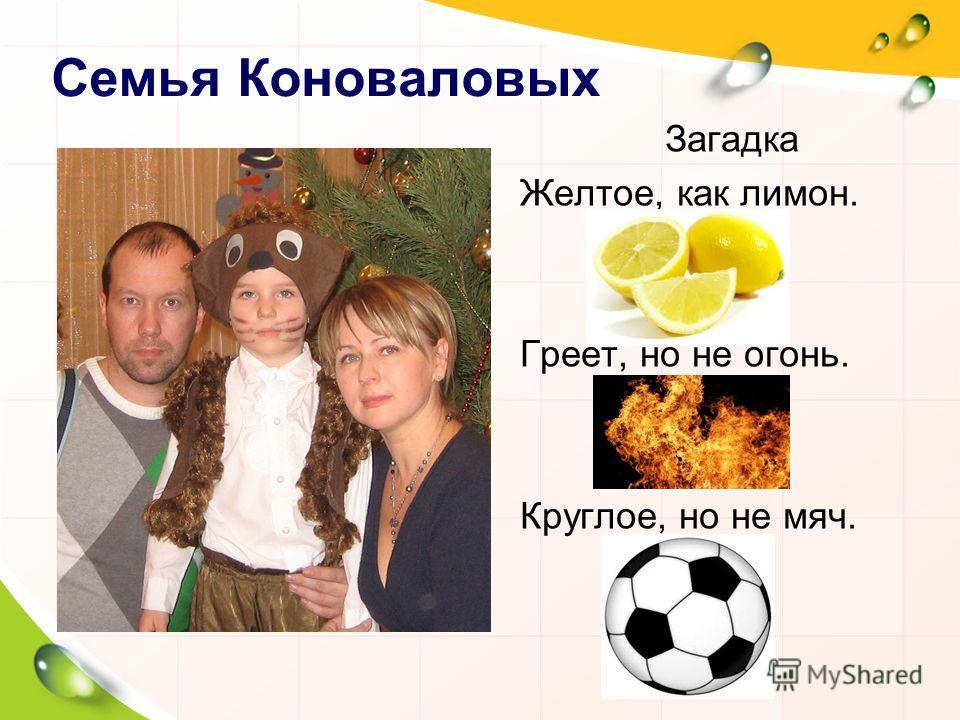 Семья Коноваловых Вставить семейное фото Загадка Желтое, как лимон. Греет, но не огонь. Круглое, но не мяч.