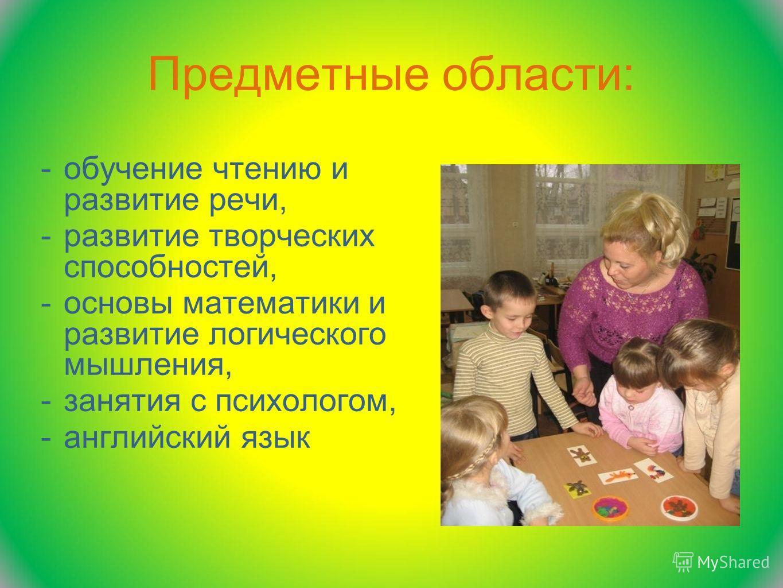 Предметные области: -обучение чтению и развитие речи, -развитие творческих способностей, -основы математики и развитие логического мышления, -занятия с психологом, -английский язык