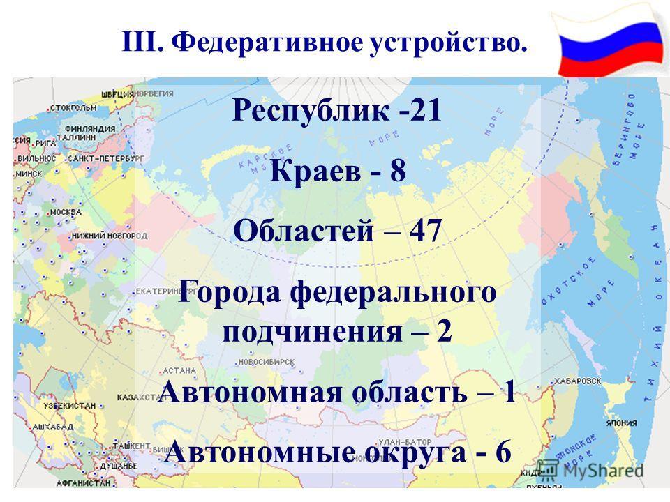 III. Федеративное устройство. Республик -21 Краев - 8 Областей – 47 Города федерального подчинения – 2 Автономная область – 1 Автономные округа - 6