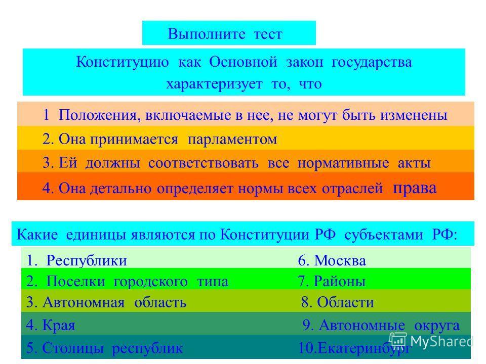 Выполните тест Конституцию как Основной закон государства характеризует то, что 1 Положения, включаемые в нее, не могут быть изменены 2. Она принимается парламентом 3. Ей должны соответствовать все нормативные акты 4. Она детально определяет нормы вс