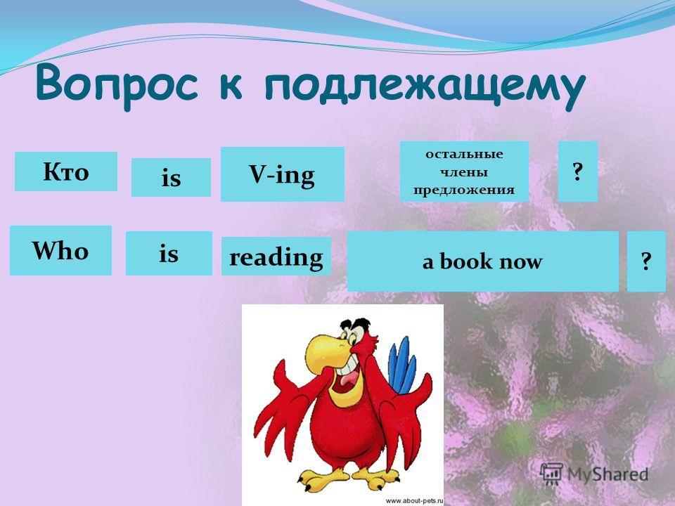 Вопрос к подлежащему Кто Who V-ing is остальные члены предложения a book now ? ? is reading