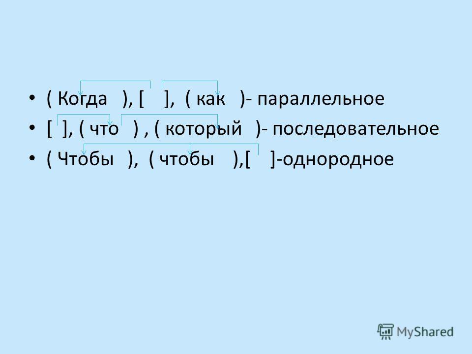 ( Когда ), [ ], ( как )- параллельное [ ], ( что ), ( который )- последовательное ( Чтобы ), ( чтобы ),[ ]-однородное