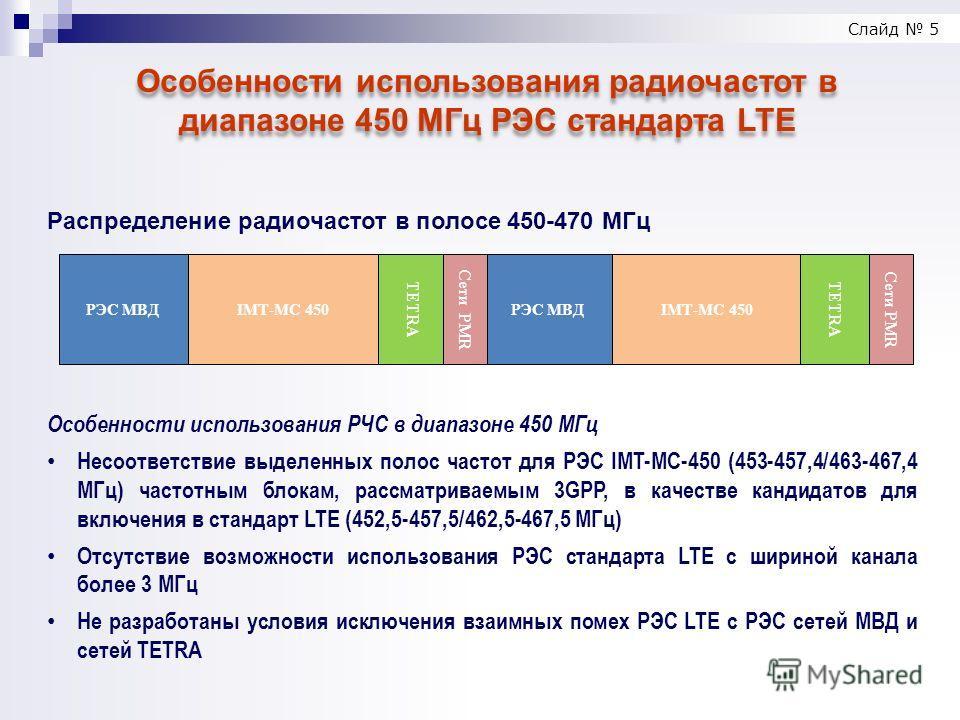 Слайд 5 Особенности использования радиочастот в диапазоне 450 МГц РЭС стандарта LTE Распределение радиочастот в полосе 450-470 МГц РЭС МВДIMT-MC 450 TETRA Сети PMR РЭС МВДIMT-MC 450 TETRA Сети PMR Особенности использования РЧС в диапазоне 450 МГц Нес