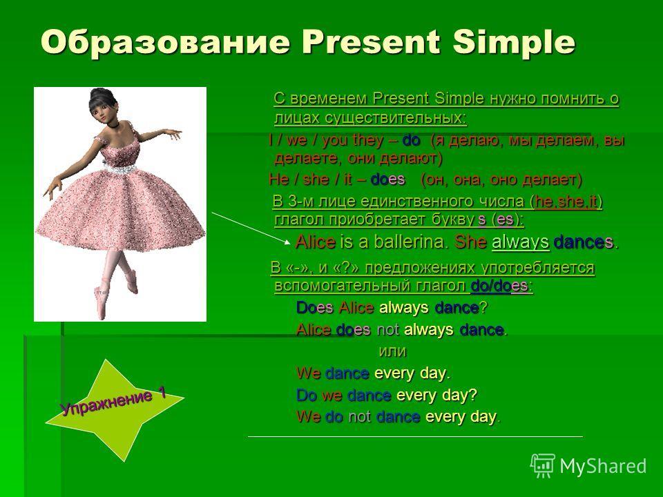 Образование Present Simple С временем Present Simple нужно помнить о лицах существительных: С временем Present Simple нужно помнить о лицах существительных: I / we / you they – do (я делаю, мы делаем, вы делаете, они делают) I / we / you they – do (я