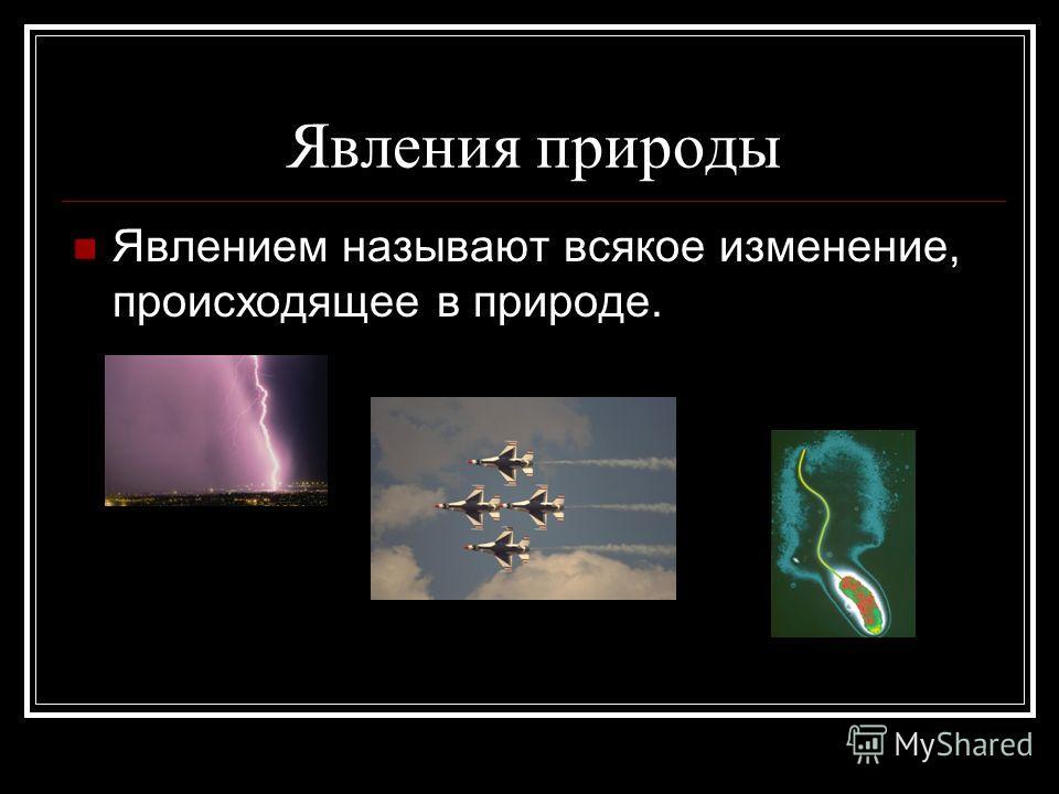 Явления природы Явлением называют всякое изменение, происходящее в природе.