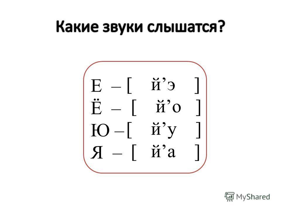 [ эй ] [ йо ] [ ну ] [ йа ] Е – Ё – Ю – Я –