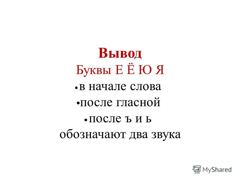 Вывод Буквы Е Ё Ю Я в начале слова после гласной после ъ и ь обозначают два звука