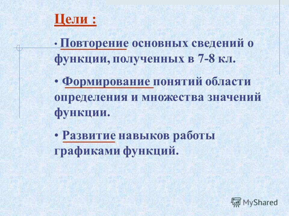 Цели : Повторение основных сведений о функции, полученных в 7-8 кл. Формирование понятий области определения и множества значений функции. Развитие навыков работы графиками функций.