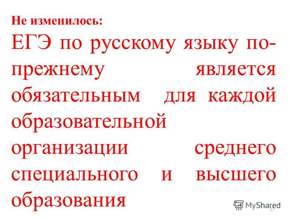 17 Не изменилось: ЕГЭ по русскому языку по- прежнему является обязательным для каждой образовательной организации среднего специального и высшего образования