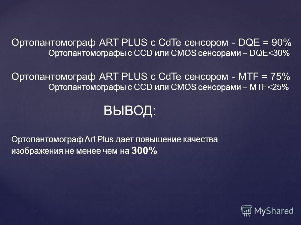 Ортопантомограф ART PLUS с CdTe сенсором - DQE = 90% Ортопантомографы с CCD или CMOS сенсорами – DQE