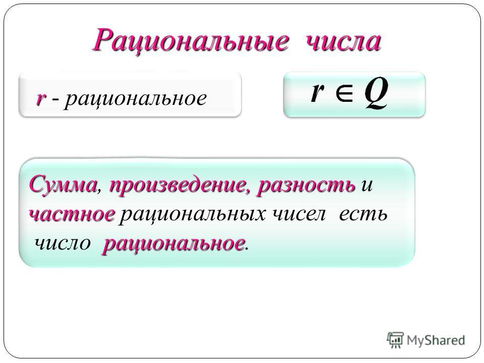 Сумма, произведение, разность Сумма, произведение, разность и частное частное рациональных чисел есть рациональное число рациональное. Сумма, произведение, разность Сумма, произведение, разность и частное частное рациональных чисел есть рациональное
