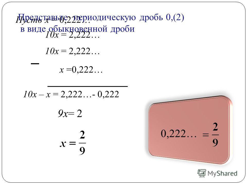 Пусть х = 0,222… 10 х = 2,222… х =0,222… 10 х = 2,222… 10 х – х = 2,222…- 0,222 9 х= 2 0,222… Представьте периодическую дробь 0,(2) в виде обыкновенной дроби