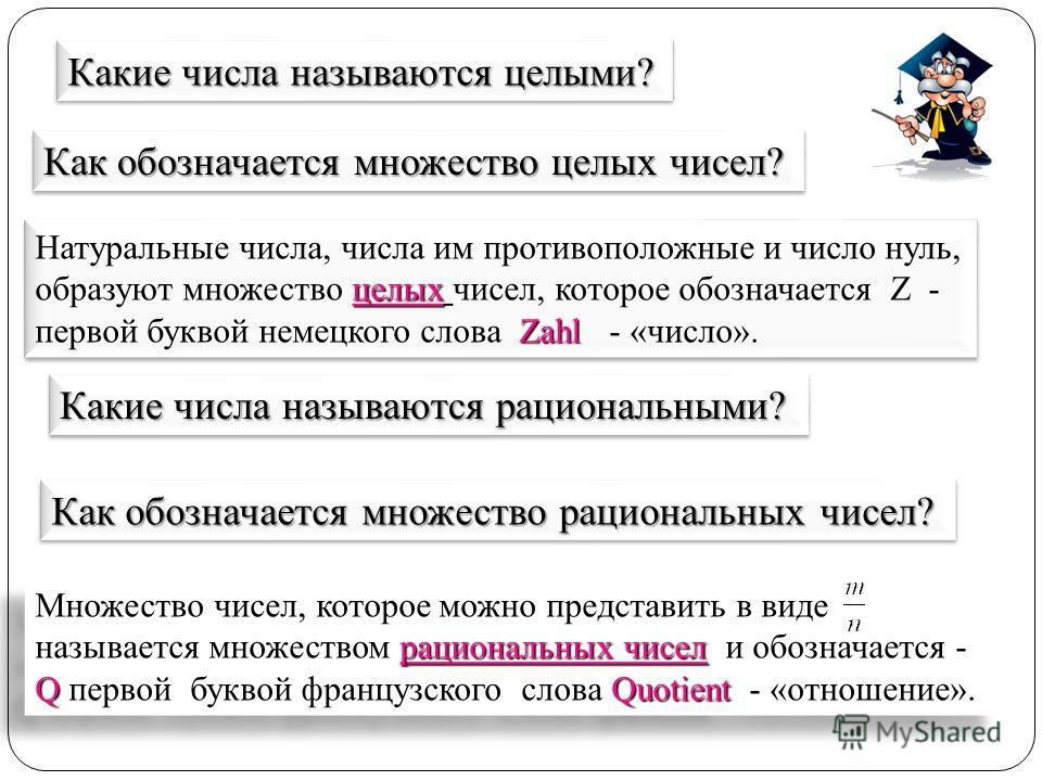 рациональных чисел QQuotient Множество чисел, которое можно представить в виде называется множеством рациональных чисел и обозначается - Q первой буквой французского слова Quotient - «отношение». целых Zahl Натуральные числа, числа им противоположные
