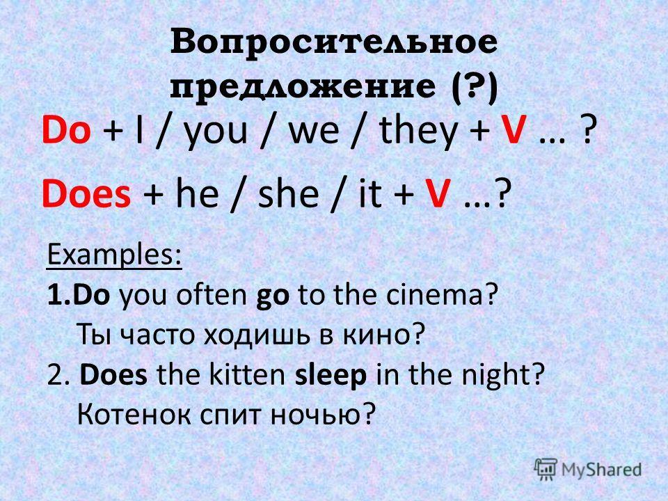 Вопросительное предложение (?) Do + I / you / we / they + V … ? Does + he / she / it + V …? Examples: 1. Do you often go to the cinema? Ты часто ходишь в кино? 2. Does the kitten sleep in the night? Котенок спит ночью?