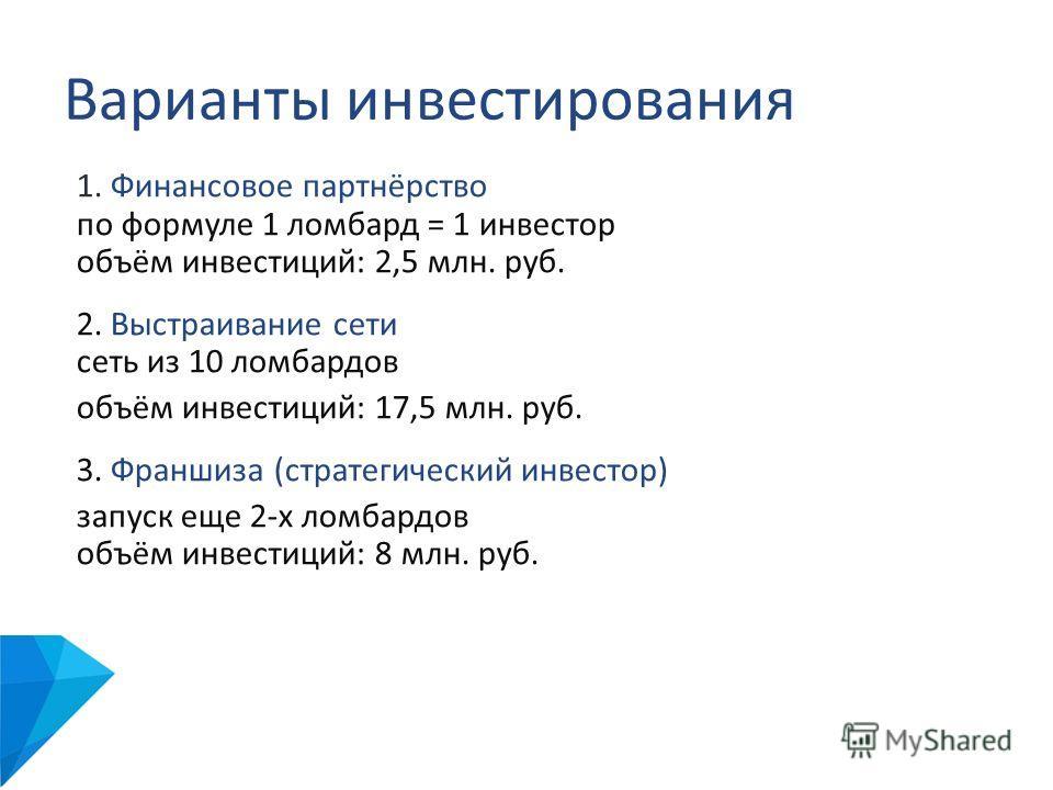 Варианты инвестирования 1. Финансовое партнёрство по формуле 1 ломбард = 1 инвестор объём инвестиций: 2,5 млн. руб. 2. Выстраивание сети сеть из 10 ломбардов объём инвестиций: 17,5 млн. руб. 3. Франшиза (стратегический инвестор) запуск еще 2-х ломбар