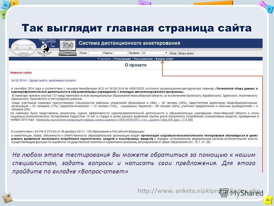 2 Tab 9 Alt Ins Esc End OЩOЩ http://www. anketa.nipkipro.ru/index.php На любом этапе тестирования Вы можете обратиться за помощью к нашим специалистам, задать вопросы и написать свои предложения. Для этого пройдите по вкладке «Вопрос-ответ»