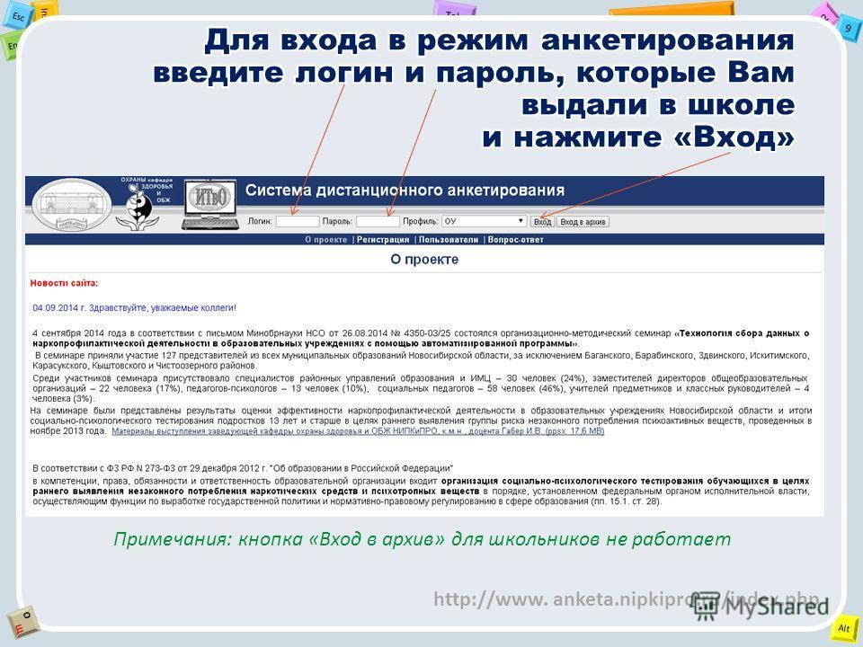 2 Tab 9 Alt Ins Esc End OЩOЩ Примечания: кнопка «Вход в архив» для школьников не работает http://www. anketa.nipkipro.ru/index.php