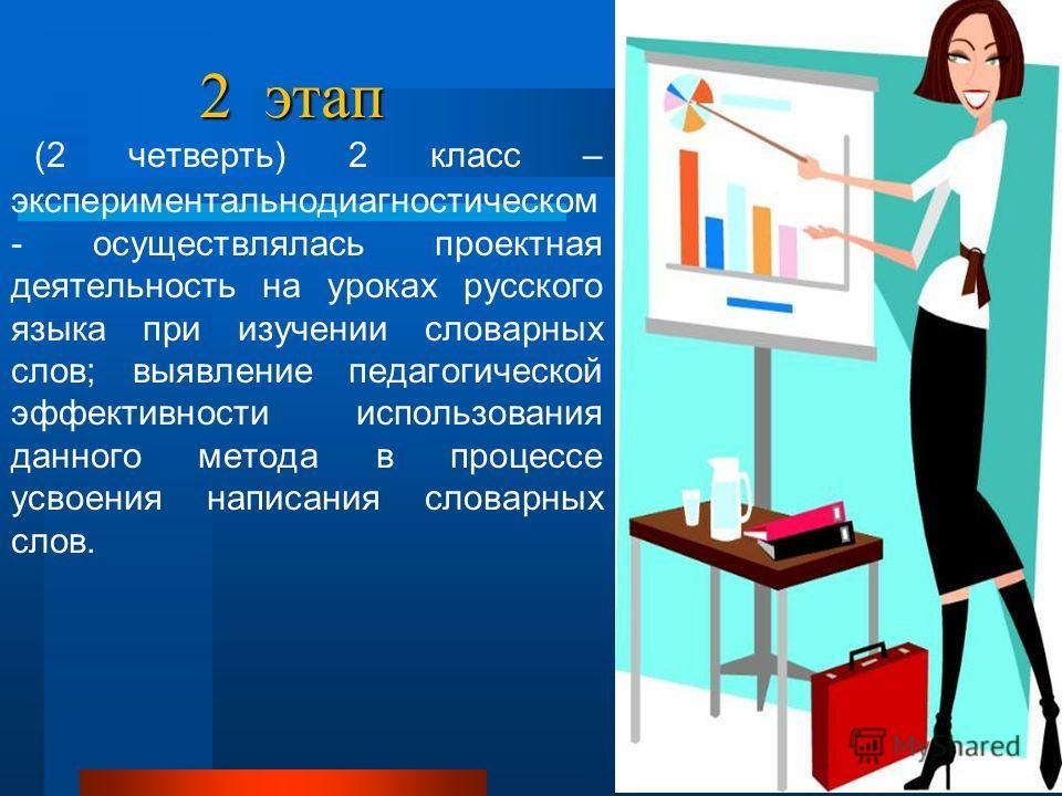 2 этап (2 четверть) 2 класс – экспериментально диагностическом - осуществлялась проектная деятельность на уроках русского языка при изучении словарных слов; выявление педагогической эффективности использования данного метода в процессе усвоения напис