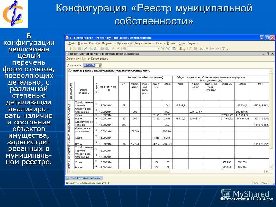 Конфигурация «Реестр муниципальной собственности» В конфигурации реализован целый перечень форм отчетов, позволяющих детально, с различной степенью детализации анализировать наличие и состояние объектов имущества, зарегистрированных в муниципальном р