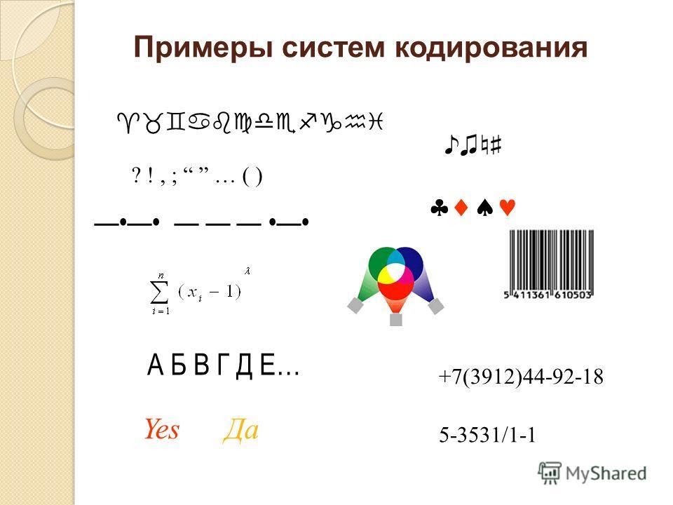 Примеры систем кодирования А Б В Г Д Е… Yes Да ? !, ; … ( ) +7(3912)44-92-18 5-3531/1-1
