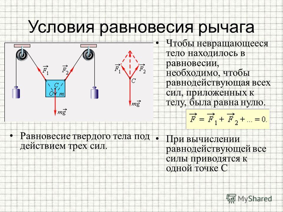Условия равновесия рычага Равновесие твердого тела под действием трех сил. Чтобы невращающееся тело находилось в равновесии, необходимо, чтобы равнодействующая всех сил, приложенных к телу, была равна нулю. При вычислении равнодействующей все силы пр