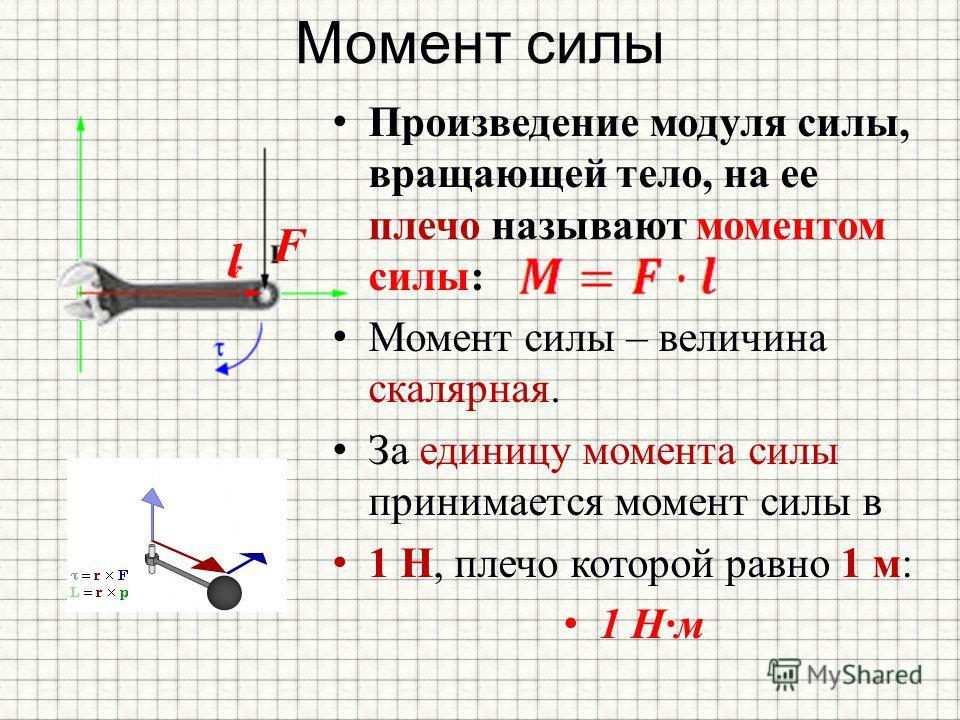 Момент силы Произведение модуля силы, вращающей тело, на ее плечо называют моментом силы: Момент силы – величина скалярная. За единицу момента силы принимается момент силы в 1 Н, плечо которой равно 1 м: 1 Н·м F l