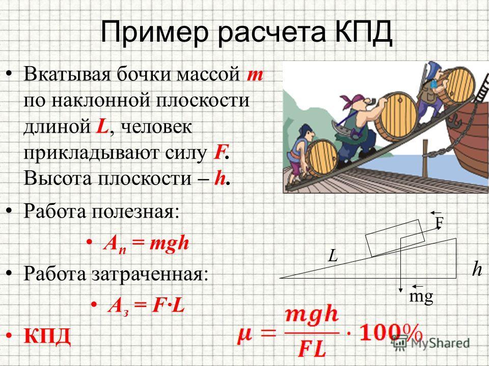 Пример расчета КПД Вкатывая бочки массой m по наклонной плоскости длиной L, человек прикладывают силу F. Высота плоскости – h. h L mg F Работа полезная: А п = mgh Работа затраченная: A з = FL КПД