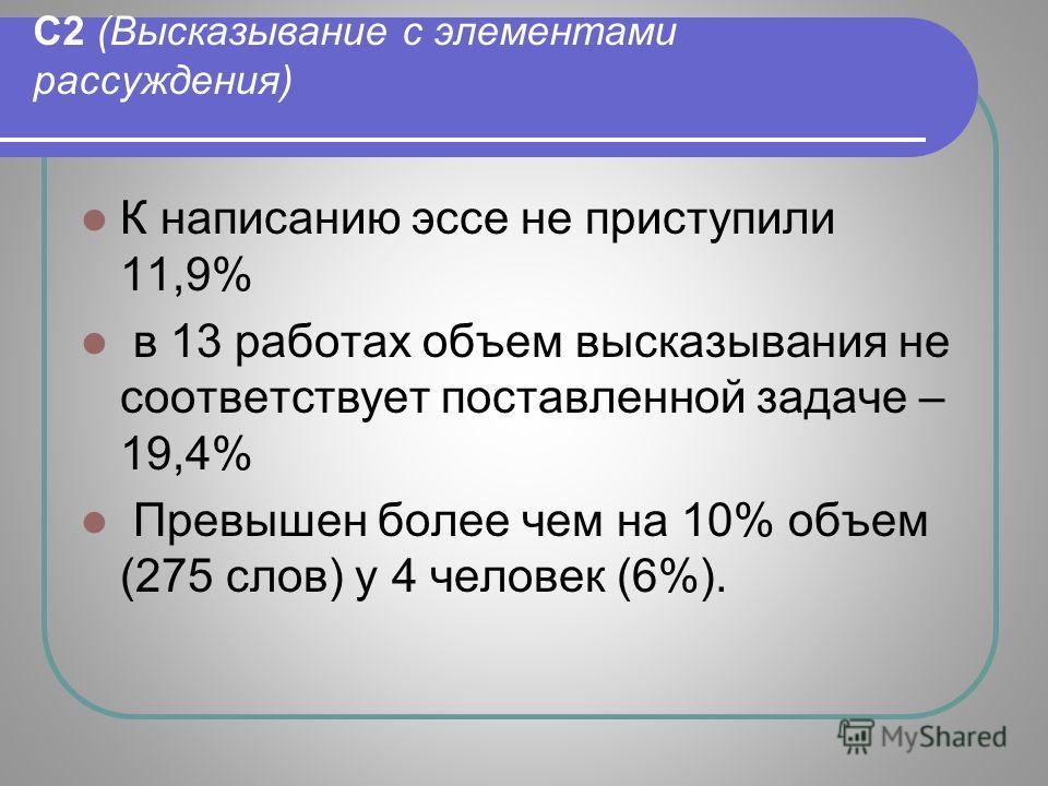 С2 (Высказывание с элементами рассуждения) К написанию эссе не приступили 11,9% в 13 работах объем высказывания не соответствует поставленной задаче – 19,4% Превышен более чем на 10% объем (275 слов) у 4 человек (6%).