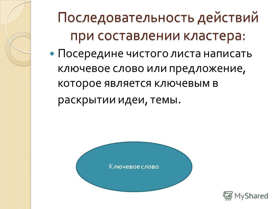 Последовательность действий при составлении кластера : Посередине чистого листа написать ключевое слово или предложение, которое является ключевым в раскрытии идеи, темы. Ключевое слово