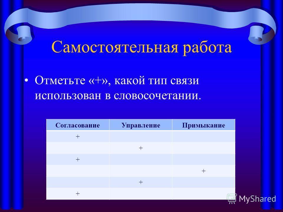 Самостоятельная работа Отметьте «+», какой тип связи использован в словосочетании. Согласование УправлениеПримыкание + + + + + +