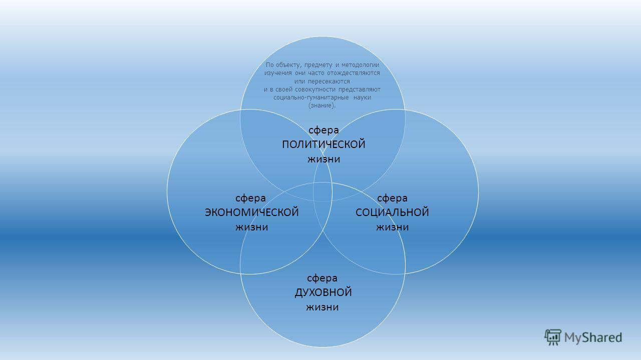 По объекту, предмету и методологии изучения они часто отождествляются или пересекаются и в своей совокупности представляют социально-гуманитарные науки (знание). сфера ПОЛИТИЧЕСКОЙ жизни сфера ЭКОНОМИЧЕСКОЙ жизни сфера СОЦИАЛЬНОЙ жизни сфера ДУХОВНОЙ