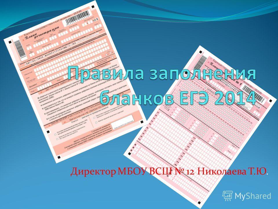 Директор МБОУ ВСШ 12 Николаева Т.Ю.